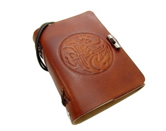 Leather book  - soft OX Celtic Dragon Lion - A6 - 400 pages - diary of Vicky's World