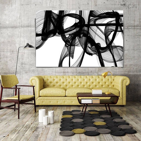 """ORL-10322-10-44t The Invisible World-Movement15_14_06. Abstract Black and White, Contemporary Canvas Art Print up to 72"""" by Irena Orlov"""
