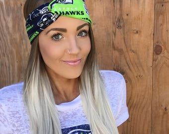 Seattle Seahawks Vintage Pinup Turban Headband    Hair Band Accessory Cotton Workout Yoga Football Fashion Navy Blue White Green Hawks Scarf