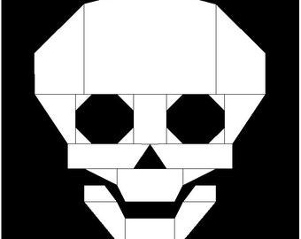 Skull Halloween Foundation Paper Pieced Quilt Block Pattern
