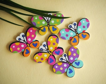5 buttons, wood, BUTTERFLIES, 30x20mm, 5 different and varied colors, sewing, scrapbooking, deco, customization...