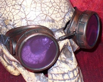 Steampunk Goggles Glasses AVIATOR cyber gothic lenses----- Time Travel Crazy Scientist's Oculo-Vision Tool