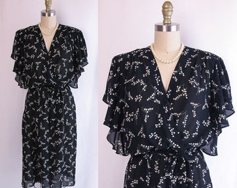 1970s Dress ~ Items California Black Lily of The Valley Print Secretary Dress ~ Flutter Sleeve & Wrap Bodice ~ Excellent Condition ~ Med