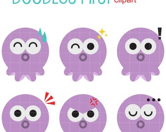 Expressive Octopus Digital Clip Art for Scrapbooking Card Making Cupcake Toppers Paper Crafts