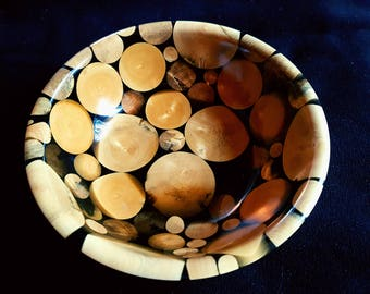 Bowl hybrid boxwood and epoxy resin
