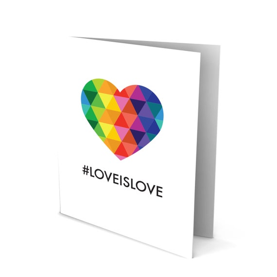 Love Is Love Greeting Card with a Colorful Rainbow Heart