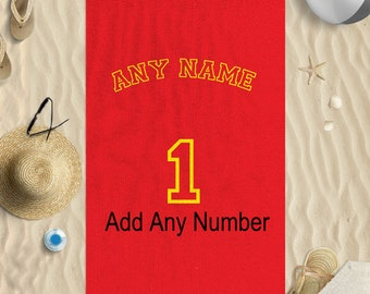 """58""""x39"""" Personalised Red Yellow Name Number Football Microfibre Beach Towel"""