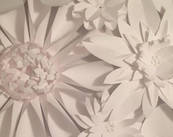 Paper Flower Group - Set of 25 various sizes from 8 inches to 10 inches