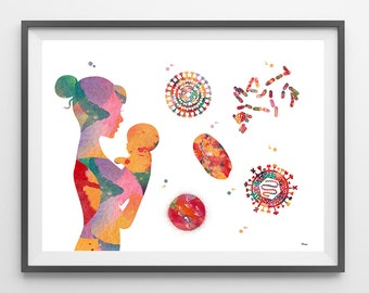 Newborn baby's Immune system watercolor print cytology art immunology poster bacteria and viruses print biology art midwifery obstetrics art