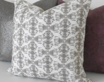 Both sides, Gray and white ikat nobu decorative pillow cover