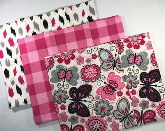 Butterfly Baby Girl Burp Cloths, Flannel Baby Girl Burp Cloth Set, Pink Burp Cloths, Butterfly Burp Rags, Modern Burp Rags, Baby Shower Gift