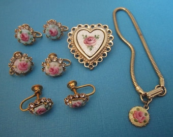 Jewelry DeStash Vintage Guilloche' Brooch, Pendant, and Earrings