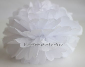 1 High Quality WHITE Tissue Pom Pom - Choose any of 50 colours - Hanging  Paper flower - Tissue paper balls - Tissue paper pom poms