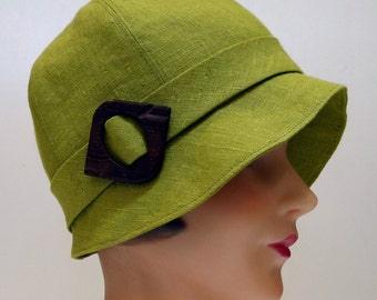 Cloche Hat in Cilantro Linen with Vintage Wooden Buckle - Made to Order