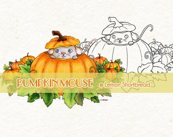 Digital Stamp Pumpkin Mouse, Halloween Autumn Fall, Digi Download, Animal, Jack O' Lantern, Coloring Page, Clip Art, Scrapbooking Supplies