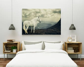 White Horse | Fine Art Photography | Mountains | Horse Photography | Equine Fine Art Print | Wall Art | Home Decor | Fine Art
