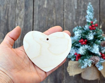 wooden heart Christmas tree ornament set 10 pieces christmas decor Valentine's day decor natural wood unpainted Wooden supplies