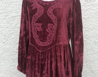 Crushed velvet hippy embroidered vintage 70/80s dress size | free size