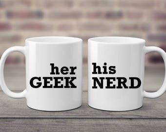 His Nerd | Her Geek | Nerd Gift | Geek Gift | Novelty Gift | Nerd Couple | Geek Couple | Nerd Wedding | Geek Wedding | Gamer Gift |Gamer Mug