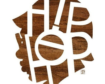 Hip Hop Head Print, (Music Poster, Rap Typography, Wood Silhouette Art)