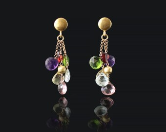 Mixed Gemstone Earrings Cascade Earrings Multi Stone Earrings Gemstone Chandeliers Dainty Earrings Delicate Earrings Crystal Earrings