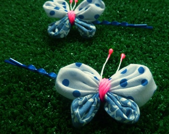 Sewing Tutorial - fabric Yo Yo butterfly Pattern - spring summer easy beginner sewing PDF - clippie clips boby pins - INSTANT Download