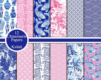 Instant Download - Blue and white / pink Chinoiserie Digital Paper Backgrounds/Patterns, Chinese digital papers, Chinoiserie Paper Pack