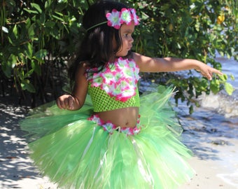 Hawaiian tutu, grass skirt, Luau tutu, Hula tutu, hula costume, moana costume, Te Fiti costume, Hula girl costume, Hawaiian costume