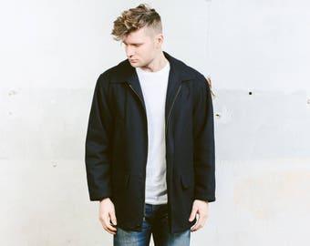 Vintage 90s Wool Zip Up Jacket . Mens Navy Blue Short Coat Retro Parka Jacket Outerwear . size Medium M