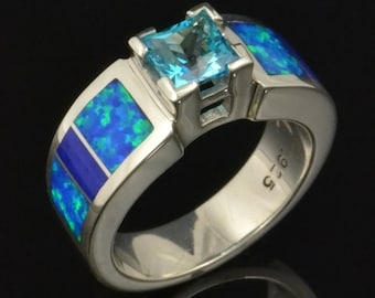 Lab Created Opal Engagement Ring with Topaz and Lapis in Sterling Silver by Hileman Silver Jewelry