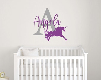 Personalized wall decal, Unicorn wall decal, Name decals, Unicorn decorations Wall stickers for bedroom Girl wall decals Nursery decal RB108