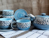 Ceramic tea set of 10 Royal blue stoneware tea pot with four mugs and saucers and sugar bowl Wedding gift Functional pottery kitchenware set