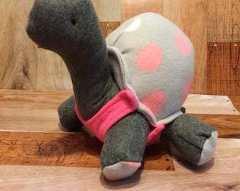 Stuffed turtle plush, grey and pink polka dot, turtle gift