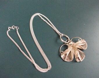 Vintage Sterling Silver 925 Filgree Angel Pendant Necklace Chain