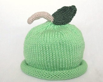 Green Apple Hat, Knit Cotton Baby Hat great photo prop