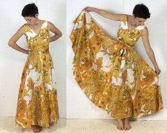 1970s Paisley Floral Print Sunshine Yellow Maxi Dress Handmade