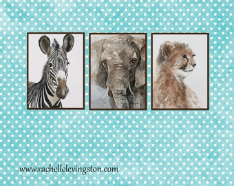 animal nursery art PRINT SET safrai animal print watercolor painting nursery room decor african wall hanging zebra elephant cheetah boy