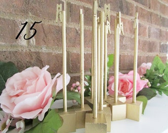 15 Gold Rustic Wood Table Number Holders, 7 inches, Wedding, Metallic, Shabby Chic, Southern, Wedding Decoration, Rustic Holder, Clothespin