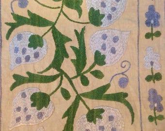 Silk on cotton table runner
