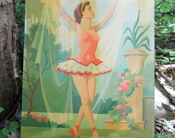 Vintage Paint by Number Ballerina Dancer Balcony Ballet Craft Master Mid Century 1960 PBN Unframed Painting