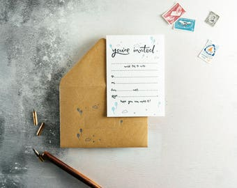 You're Invited Letterpress Invitation Set of 10 Invites