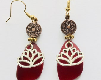 Lotus with Red Seaglass Earrings