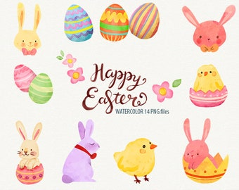 Watercolor Easter, Easter clipart, Easter Bunny, Easter eggs