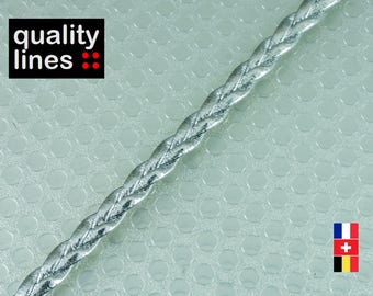 X 1 M - flat faux leather Silver 5mm / 2mm - 5mm silver braided leather