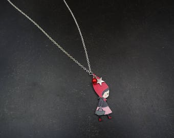 Necklace little Red Riding Hood / blue and silver chain.
