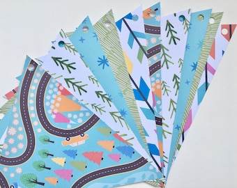 Blue, green forest road paper Garland