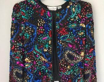 Vintage Laurence Kazar beaded sequin  jacket