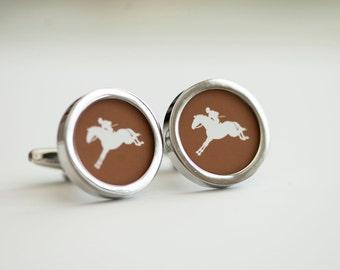 Horse and Jockey  on cufflinks - Horse cufflinks, Men's Cufflinks,  Husband, Wedding gift, Novelty cufflinks for him