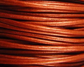 2 Yards - 1mm Metallic Copper Leather Cord