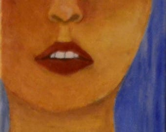 Oil Painting, women face, girl face, serenity,  raw beauty
